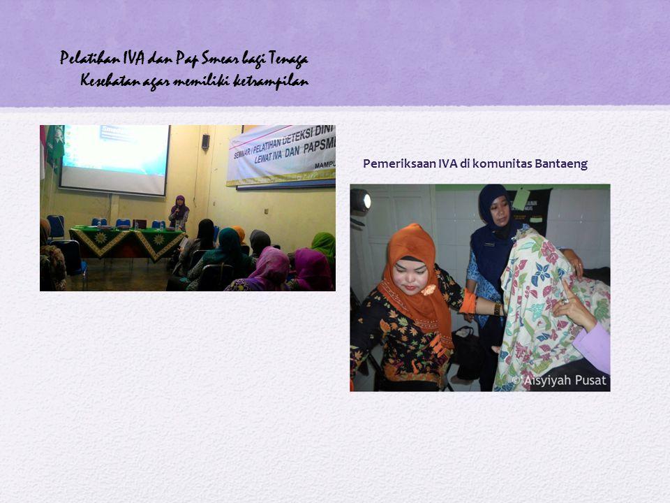 Pemeriksaan IVA di komunitas Bantaeng Pelatihan IVA dan Pap Smear bagi Tenaga Kesehatan agar memiliki ketrampilan
