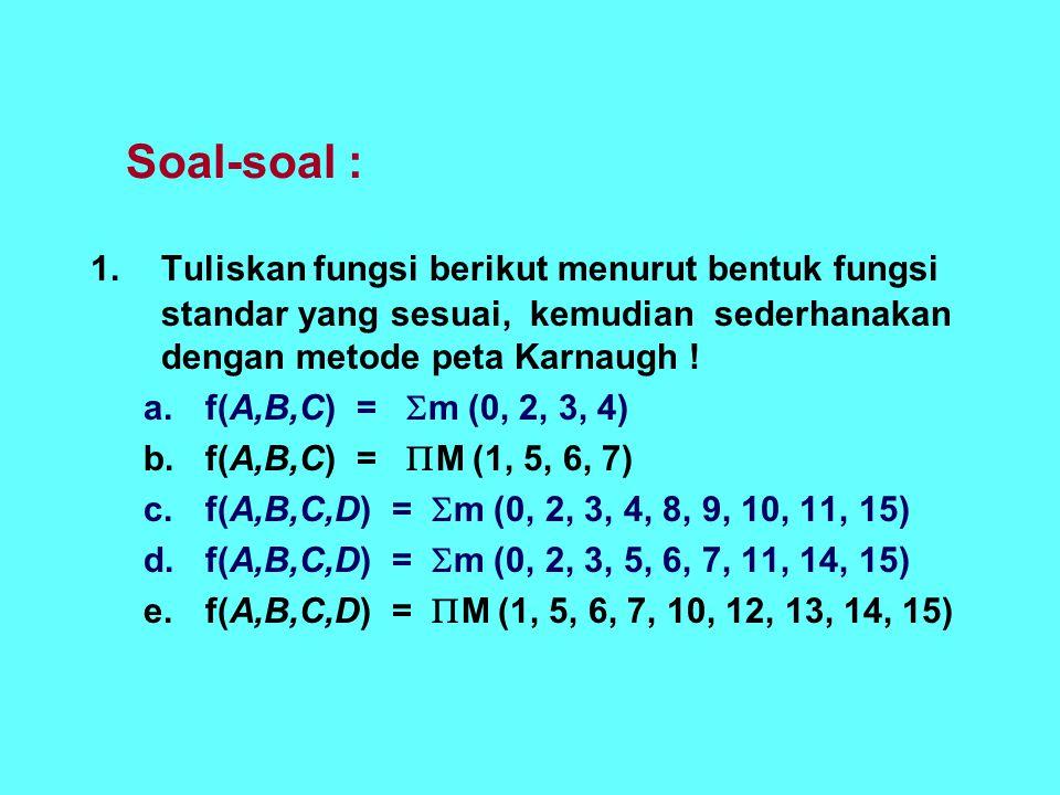 Soal-soal : 1.Tuliskan fungsi berikut menurut bentuk fungsi standar yang sesuai, kemudian sederhanakan dengan metode peta Karnaugh ! a.f(A,B,C) =  m