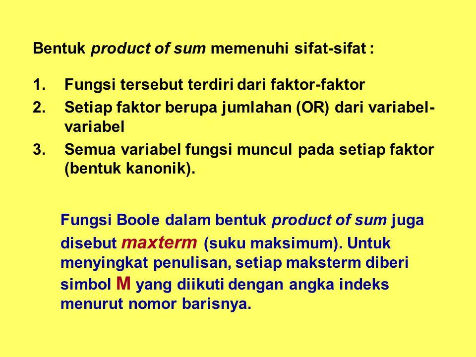 Bentuk product of sum memenuhi sifat-sifat : 1.Fungsi tersebut terdiri dari faktor-faktor 2.Setiap faktor berupa jumlahan (OR) dari variabel- variabel