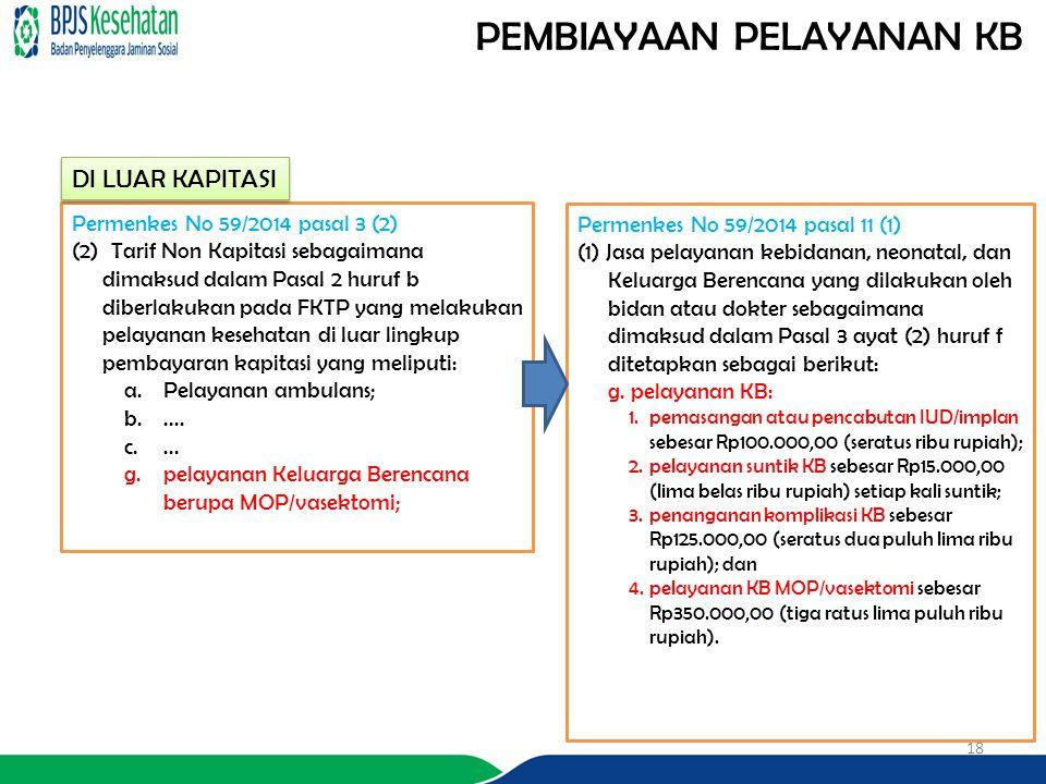 PEMBIAYAAN PELAYANAN KB 18 Permenkes No 59/2014 pasal 3 (2) (2) Tarif Non Kapitasi sebagaimana dimaksud dalam Pasal 2 huruf b diberlakukan pada FKTP y