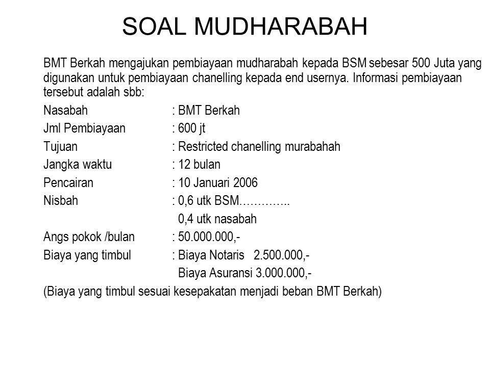 SOAL MUDHARABAH BMT Berkah mengajukan pembiayaan mudharabah kepada BSM sebesar 500 Juta yang digunakan untuk pembiayaan chanelling kepada end usernya.