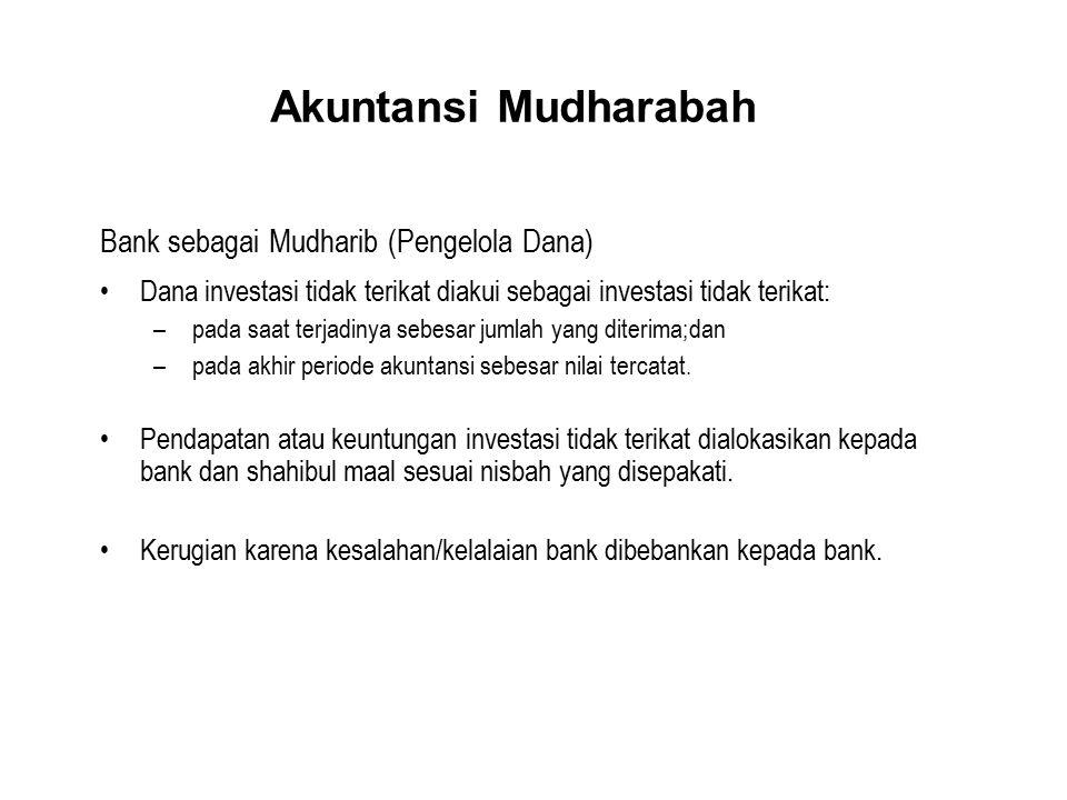 Akuntansi Mudharabah Bank sebagai Mudharib (Pengelola Dana) Dana investasi tidak terikat diakui sebagai investasi tidak terikat: – pada saat terjadiny