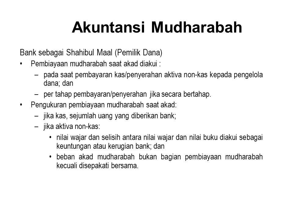 Akuntansi Mudharabah Bank sebagai Shahibul Maal (Pemilik Dana) Pembiayaan mudharabah saat akad diakui : –pada saat pembayaran kas/penyerahan aktiva no