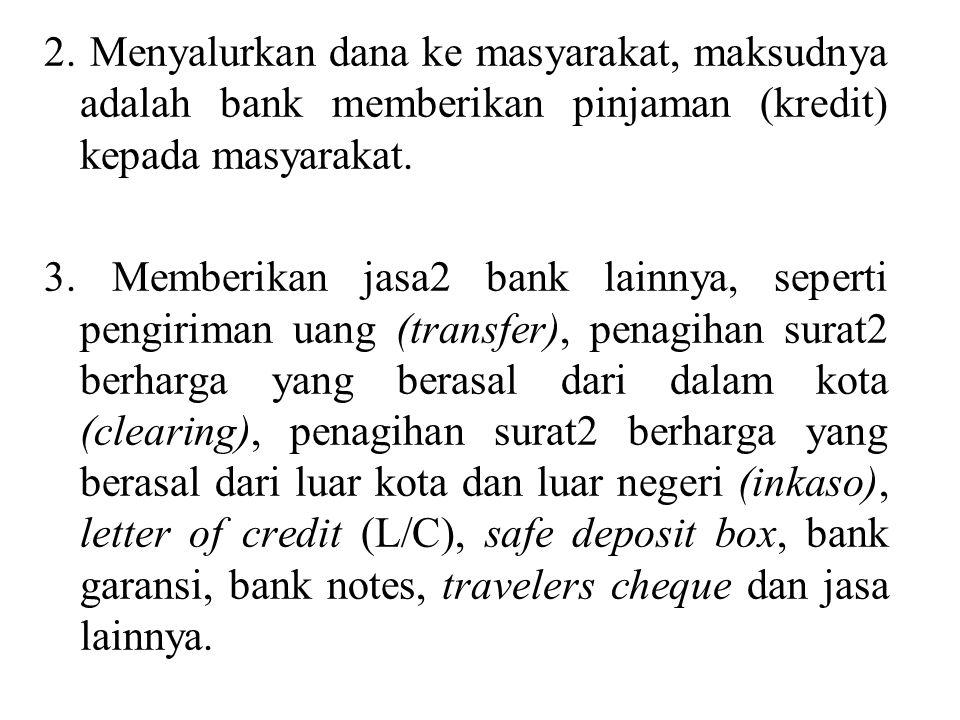 2. Menyalurkan dana ke masyarakat, maksudnya adalah bank memberikan pinjaman (kredit) kepada masyarakat. 3. Memberikan jasa2 bank lainnya, seperti pen