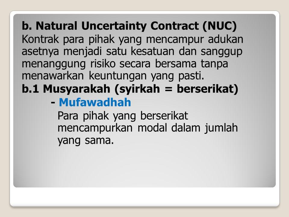 b. Natural Uncertainty Contract (NUC) Kontrak para pihak yang mencampur adukan asetnya menjadi satu kesatuan dan sanggup menanggung risiko secara bers