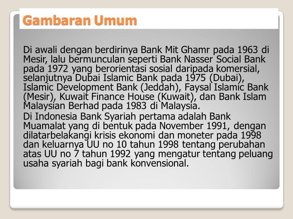 Gambaran Umum Di awali dengan berdirinya Bank Mit Ghamr pada 1963 di Mesir, lalu bermunculan seperti Bank Nasser Social Bank pada 1972 yang berorienta