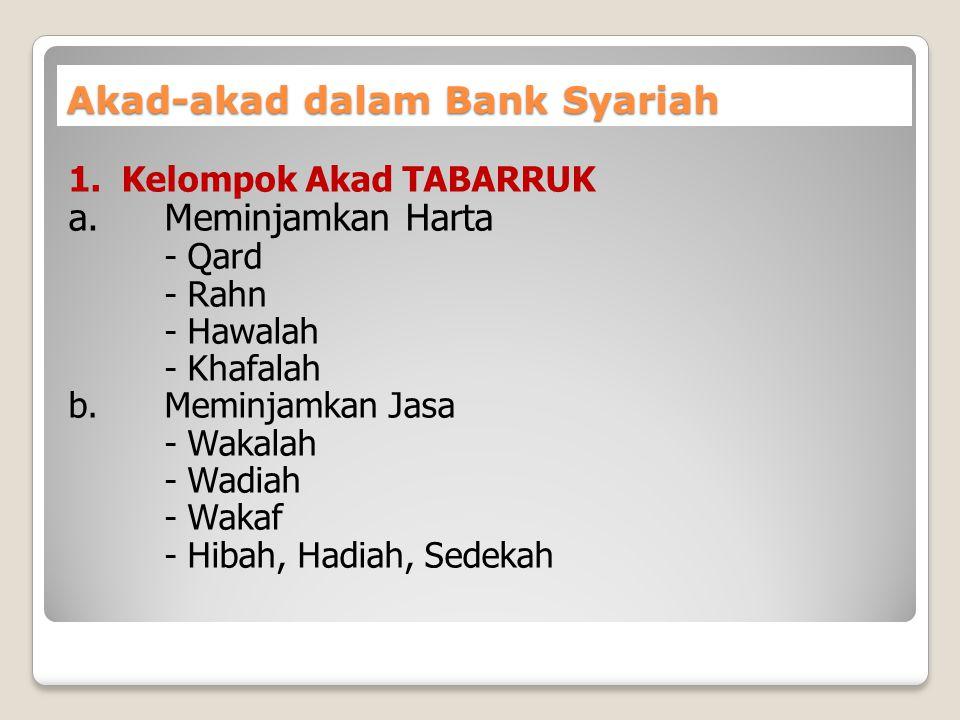 Akad-akad dalam Bank Syariah 1. Kelompok Akad TABARRUK a.Meminjamkan Harta - Qard - Rahn - Hawalah - Khafalah b. Meminjamkan Jasa - Wakalah - Wadiah -