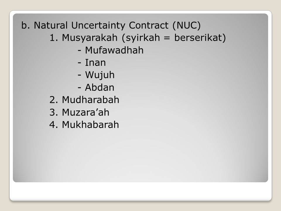 b.Natural Uncertainty Contract (NUC) 1.