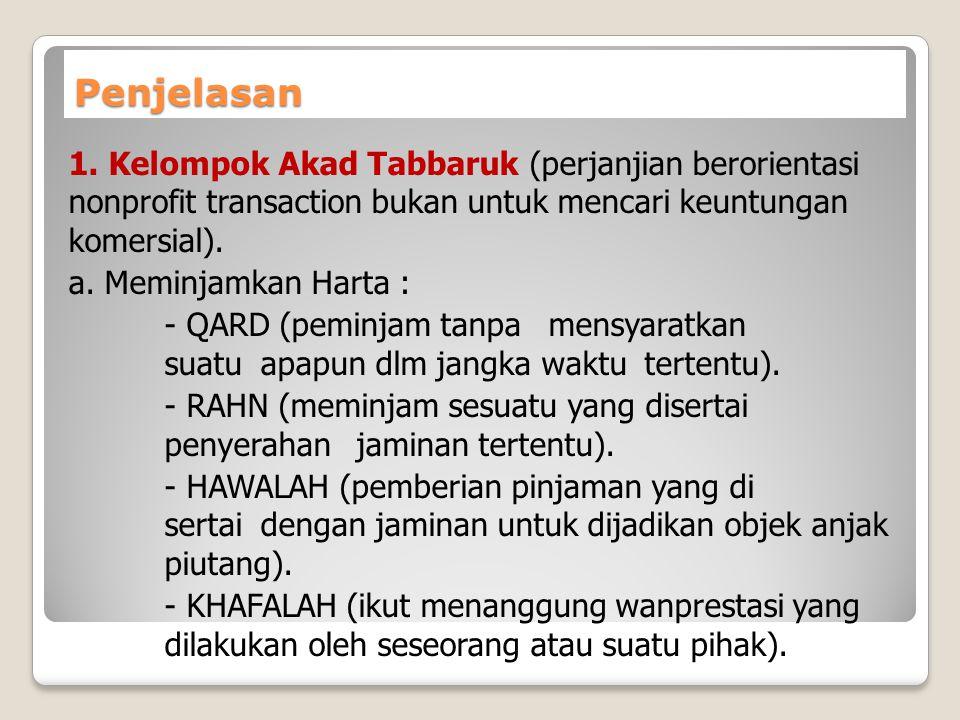 Penjelasan 1. Kelompok Akad Tabbaruk (perjanjian berorientasi nonprofit transaction bukan untuk mencari keuntungan komersial). a. Meminjamkan Harta :