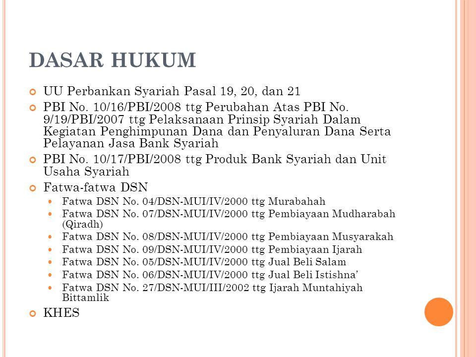 DASAR HUKUM UU Perbankan Syariah Pasal 19, 20, dan 21 PBI No. 10/16/PBI/2008 ttg Perubahan Atas PBI No. 9/19/PBI/2007 ttg Pelaksanaan Prinsip Syariah
