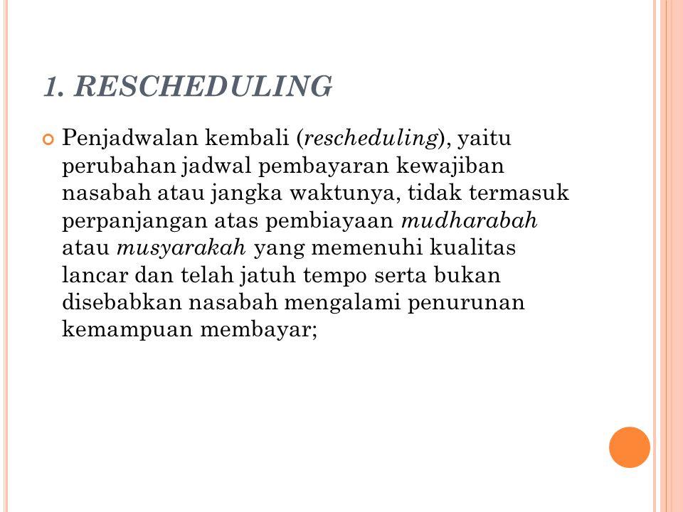 1. RESCHEDULING Penjadwalan kembali ( rescheduling ), yaitu perubahan jadwal pembayaran kewajiban nasabah atau jangka waktunya, tidak termasuk perpanj