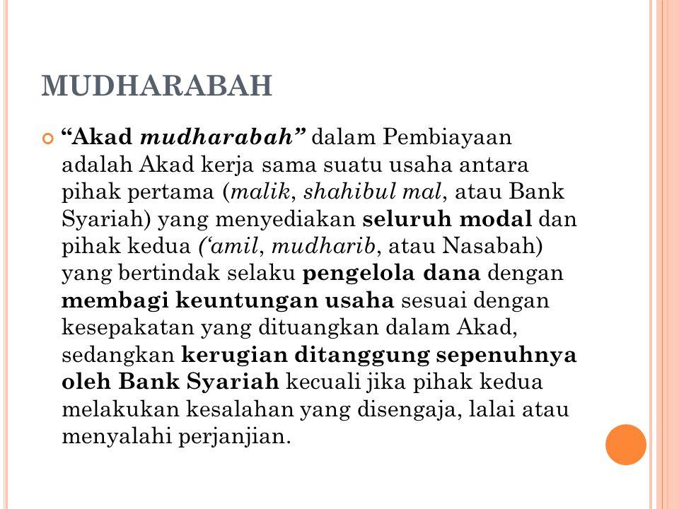 """MUDHARABAH """"Akad mudharabah"""" dalam Pembiayaan adalah Akad kerja sama suatu usaha antara pihak pertama ( malik, shahibul mal, atau Bank Syariah) yang m"""