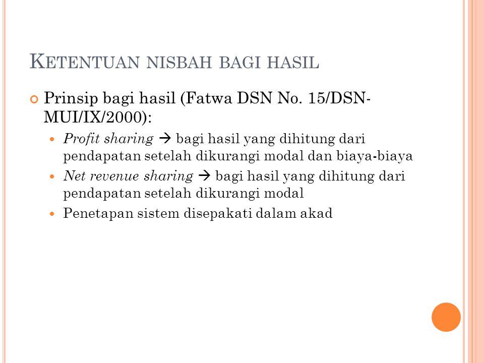 K ETENTUAN NISBAH BAGI HASIL Prinsip bagi hasil (Fatwa DSN No. 15/DSN- MUI/IX/2000): Profit sharing  bagi hasil yang dihitung dari pendapatan setelah