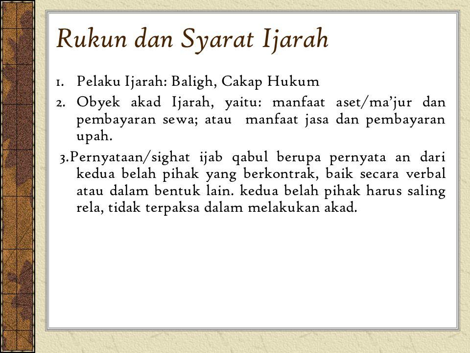 Rukun dan Syarat Ijarah 1. Pelaku Ijarah: Baligh, Cakap Hukum 2.