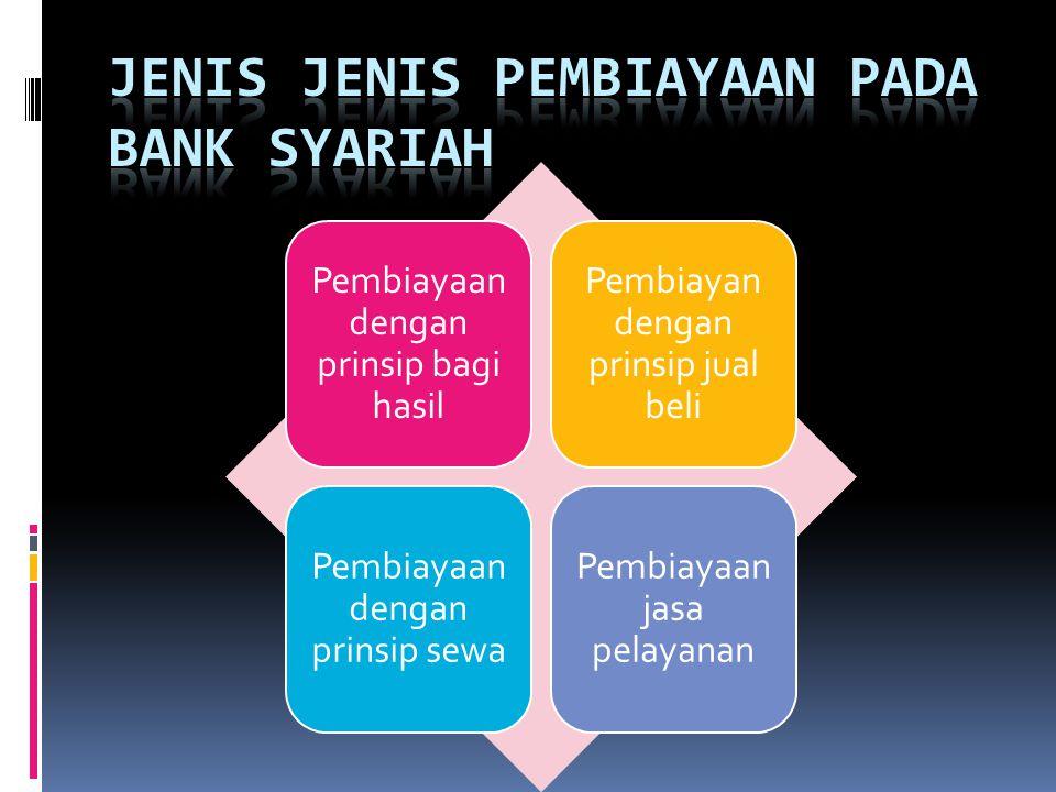 Pembiayaan dengan prinsip bagi hasil Pembiayan dengan prinsip jual beli Pembiayaan dengan prinsip sewa Pembiayaan jasa pelayanan