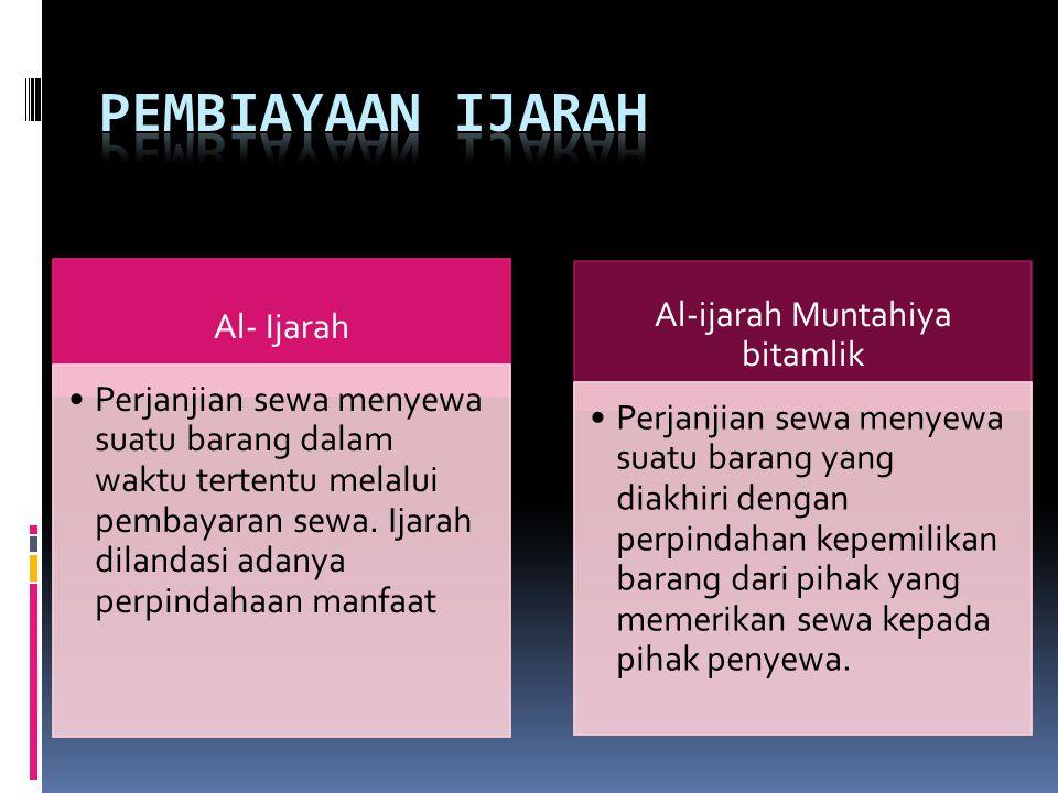 Al- Ijarah Perjanjian sewa menyewa suatu barang dalam waktu tertentu melalui pembayaran sewa.