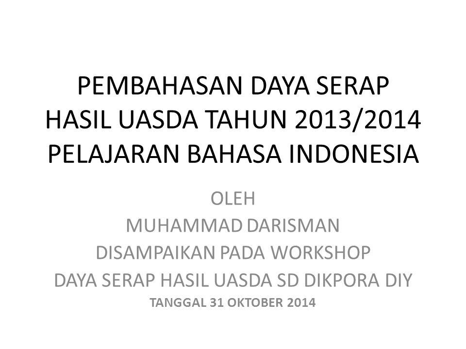 PEMBAHASAN DAYA SERAP HASIL UASDA TAHUN 2013/2014 PELAJARAN BAHASA INDONESIA OLEH MUHAMMAD DARISMAN DISAMPAIKAN PADA WORKSHOP DAYA SERAP HASIL UASDA S
