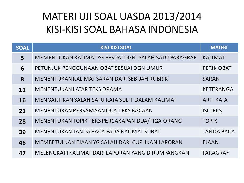 MATERI UJI SOAL UASDA 2013/2014 KISI-KISI SOAL BAHASA INDONESIA SOAL KISI-KISI SOALMATERI 5 MEMENTUKAN KALIMAT YG SESUAI DGN SALAH SATU PARAGRAFKALIMA