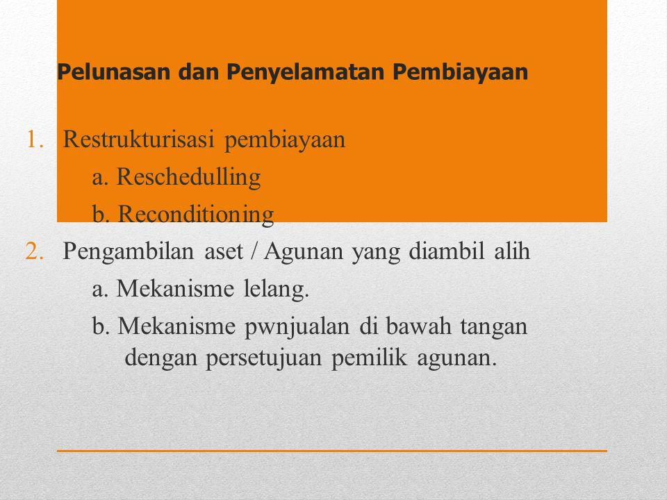 Pelunasan dan Penyelamatan Pembiayaan 1.Restrukturisasi pembiayaan a. Reschedulling b. Reconditioning 2.Pengambilan aset / Agunan yang diambil alih a.