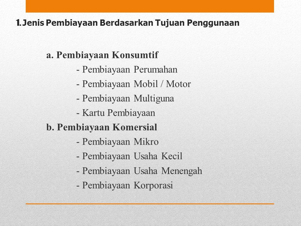 1. Jenis Pembiayaan Berdasarkan Tujuan Penggunaan a. Pembiayaan Konsumtif - Pembiayaan Perumahan - Pembiayaan Mobil / Motor - Pembiayaan Multiguna - K