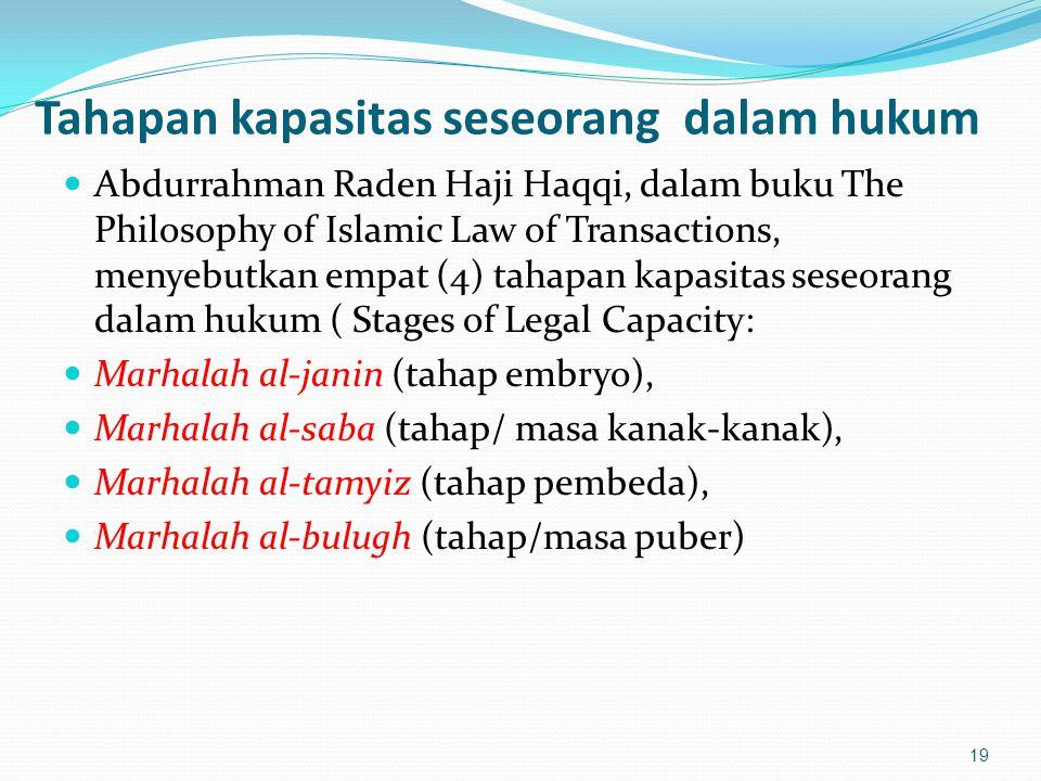 Tahapan kapasitas seseorang dalam hukum Abdurrahman Raden Haji Haqqi, dalam buku The Philosophy of Islamic Law of Transactions, menyebutkan empat (4) tahapan kapasitas seseorang dalam hukum ( Stages of Legal Capacity: Marhalah al-janin (tahap embryo), Marhalah al-saba (tahap/ masa kanak-kanak), Marhalah al-tamyiz (tahap pembeda), Marhalah al-bulugh (tahap/masa puber) 19