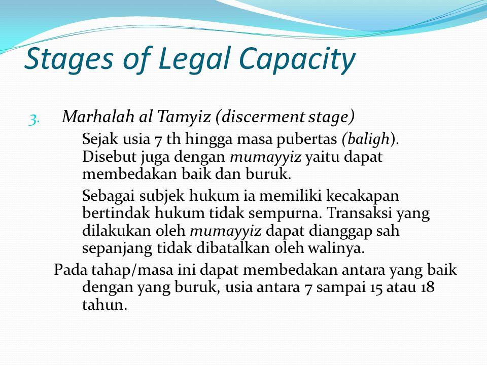 Stages of Legal Capacity 3. Marhalah al Tamyiz (discerment stage) Sejak usia 7 th hingga masa pubertas (baligh). Disebut juga dengan mumayyiz yaitu da