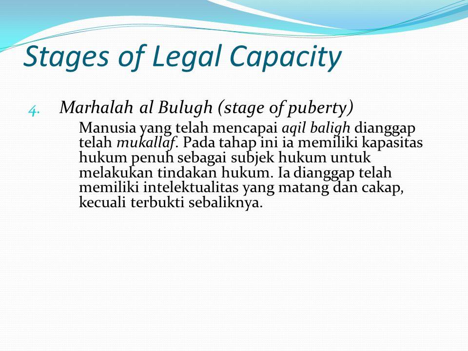 Stages of Legal Capacity 4. Marhalah al Bulugh (stage of puberty) Manusia yang telah mencapai aqil baligh dianggap telah mukallaf. Pada tahap ini ia m
