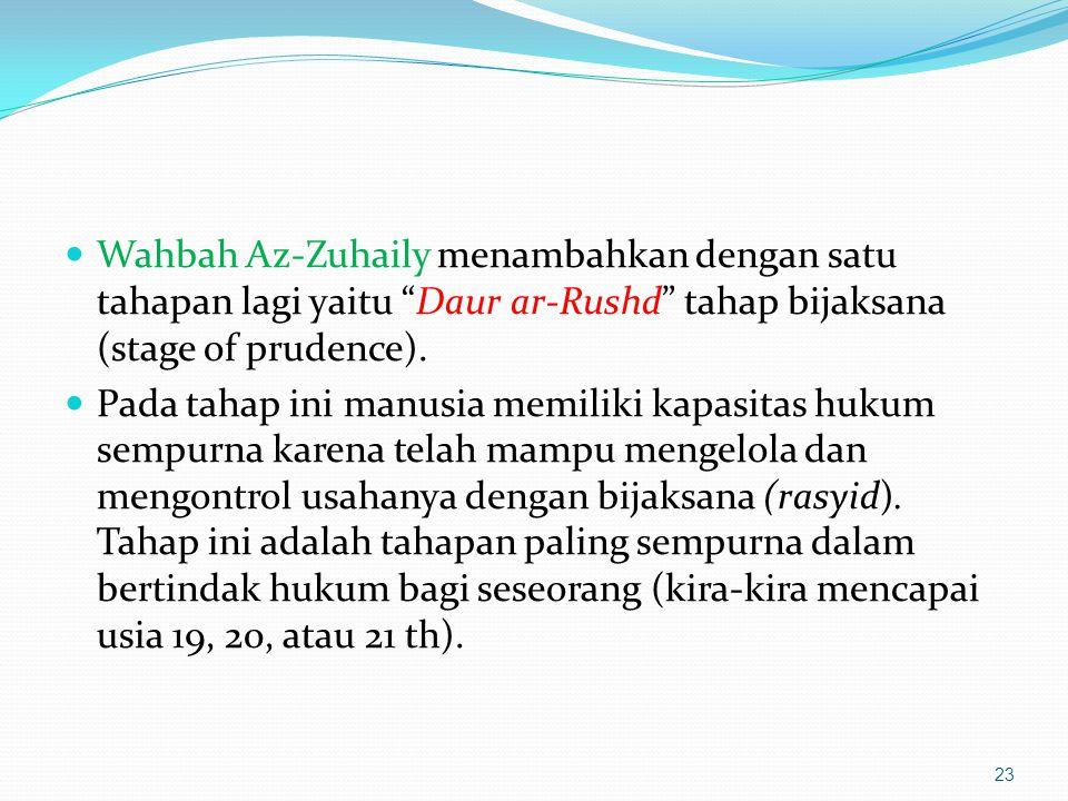 """Wahbah Az-Zuhaily menambahkan dengan satu tahapan lagi yaitu """"Daur ar-Rushd"""" tahap bijaksana (stage of prudence). Pada tahap ini manusia memiliki kapa"""