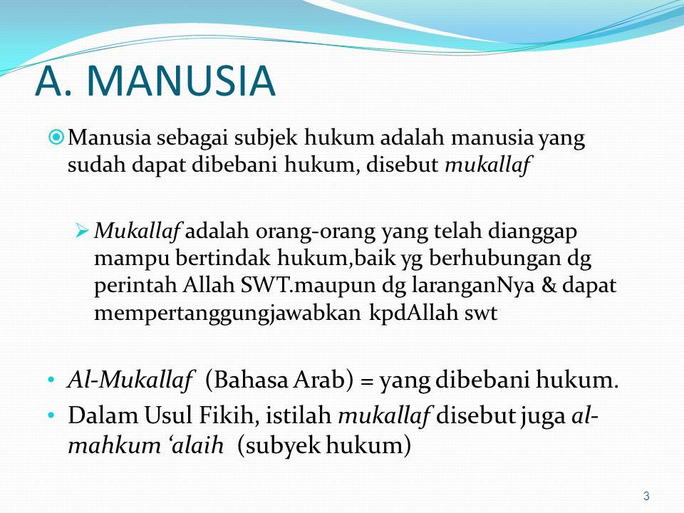 A. MANUSIA  Manusia sebagai subjek hukum adalah manusia yang sudah dapat dibebani hukum, disebut mukallaf  Mukallaf adalah orang-orang yang telah di