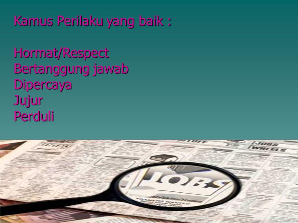 Kamus Perilaku yang baik : Hormat/Respect Bertanggung jawab DipercayaJujurPerduli