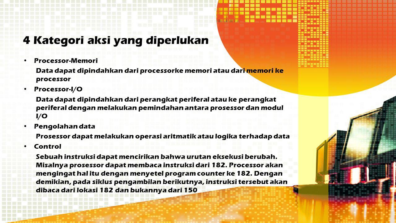 4 Kategori aksi yang diperlukan Processor-Memori Data dapat dipindahkan dari processorke memori atau dari memori ke processor Processor-I/O Data dapat