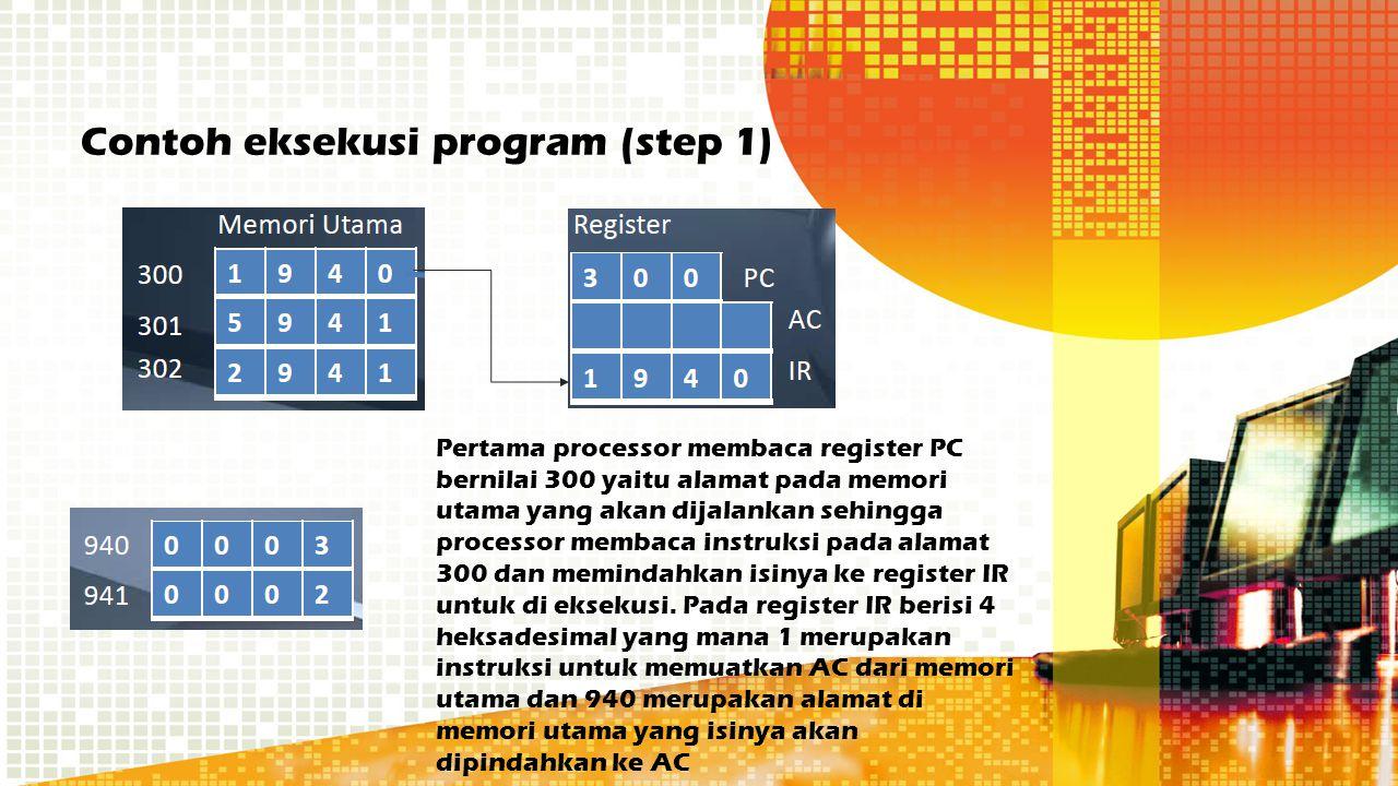 Contoh eksekusi program (step 1) Pertama processor membaca register PC bernilai 300 yaitu alamat pada memori utama yang akan dijalankan sehingga proce