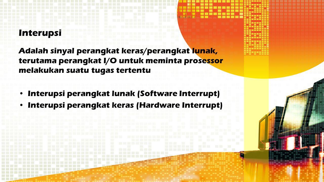 Interupsi Adalah sinyal perangkat keras/perangkat lunak, terutama perangkat I/O untuk meminta prosessor melakukan suatu tugas tertentu Interupsi peran
