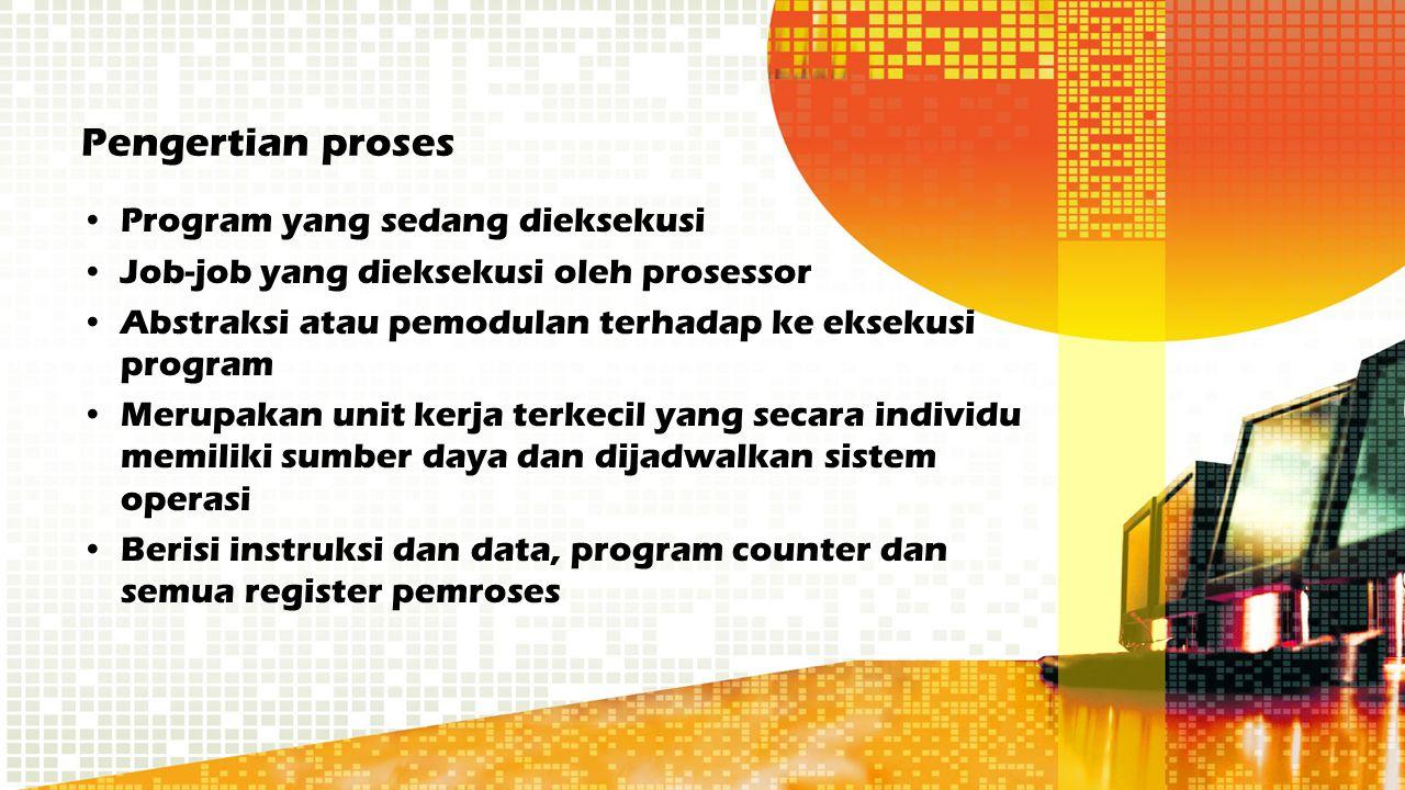Pengertian proses Program yang sedang dieksekusi Job-job yang dieksekusi oleh prosessor Abstraksi atau pemodulan terhadap ke eksekusi program Merupaka