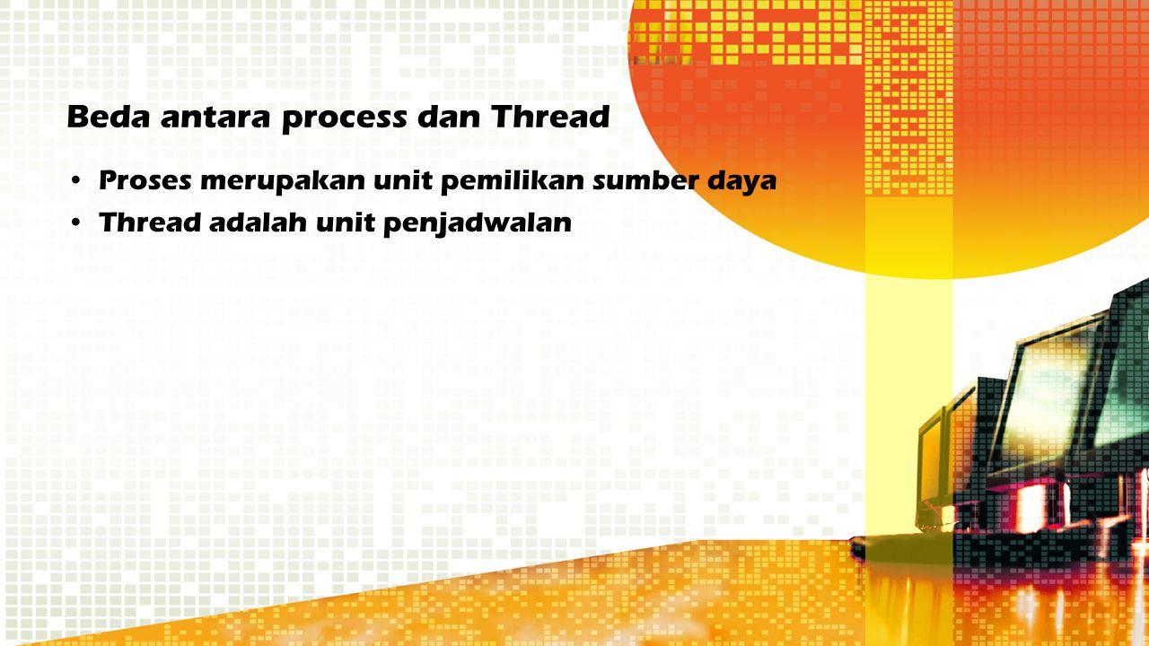 Beda antara process dan Thread Proses merupakan unit pemilikan sumber daya Thread adalah unit penjadwalan
