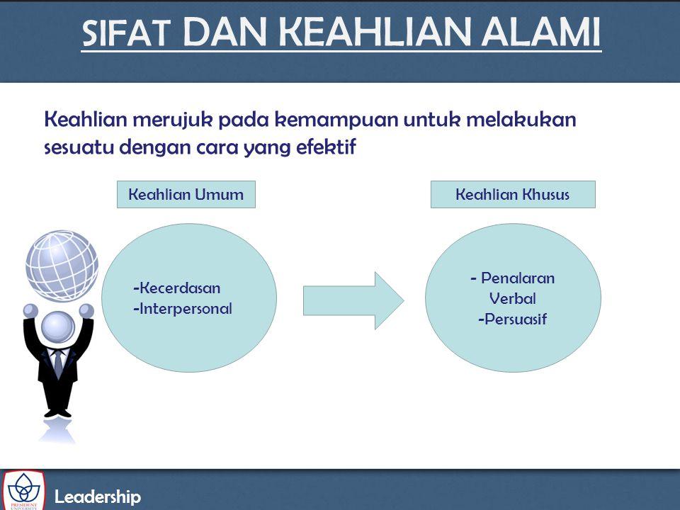SIFAT DAN KEAHLIAN ALAMI Leadership -Kecerdasan -Interpersonal Keahlian UmumKeahlian Khusus - Penalaran Verbal -Persuasif Keahlian merujuk pada kemamp