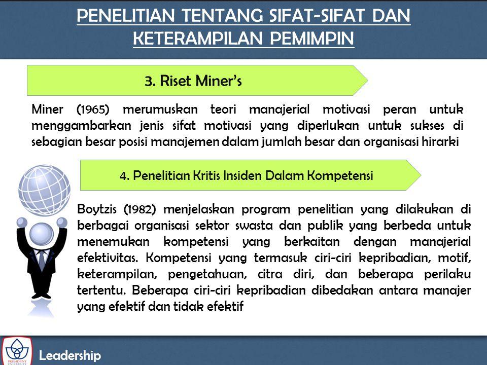 Leadership PENELITIAN TENTANG SIFAT-SIFAT DAN KETERAMPILAN PEMIMPIN 3. Riset Miner's Boytzis (1982) menjelaskan program penelitian yang dilakukan di b