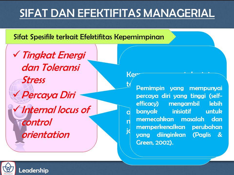 Leadership SIFAT DAN EFEKTIFITAS MANAGERIAL Tingkat Energi dan Toleransi Stress Percaya Diri Internal locus of control orientation Locus Of Control ad