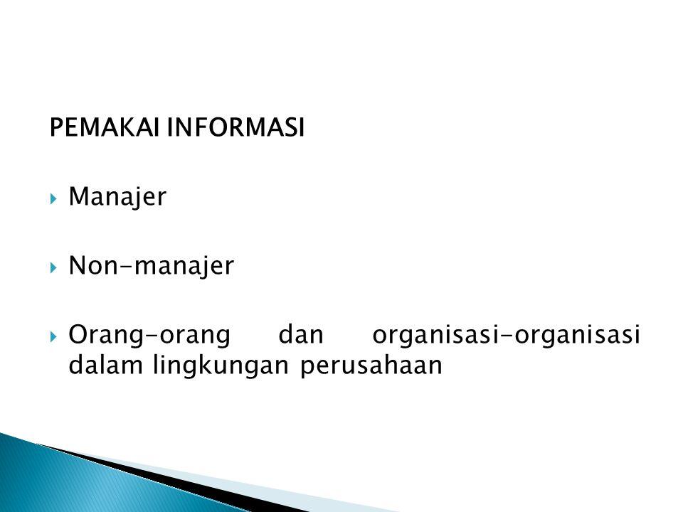 PEMAKAI INFORMASI  Manajer  Non-manajer  Orang-orang dan organisasi-organisasi dalam lingkungan perusahaan