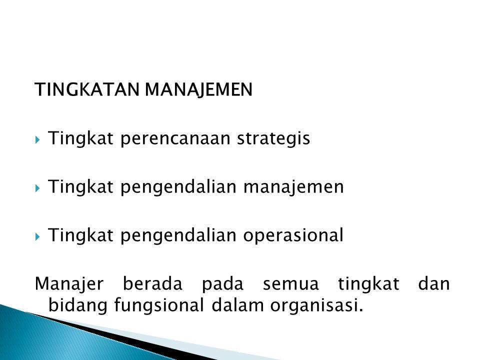 TINGKATAN MANAJEMEN  Tingkat perencanaan strategis  Tingkat pengendalian manajemen  Tingkat pengendalian operasional Manajer berada pada semua ting