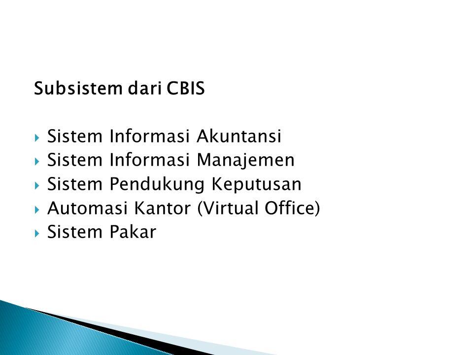 Subsistem dari CBIS  Sistem Informasi Akuntansi  Sistem Informasi Manajemen  Sistem Pendukung Keputusan  Automasi Kantor (Virtual Office)  Sistem