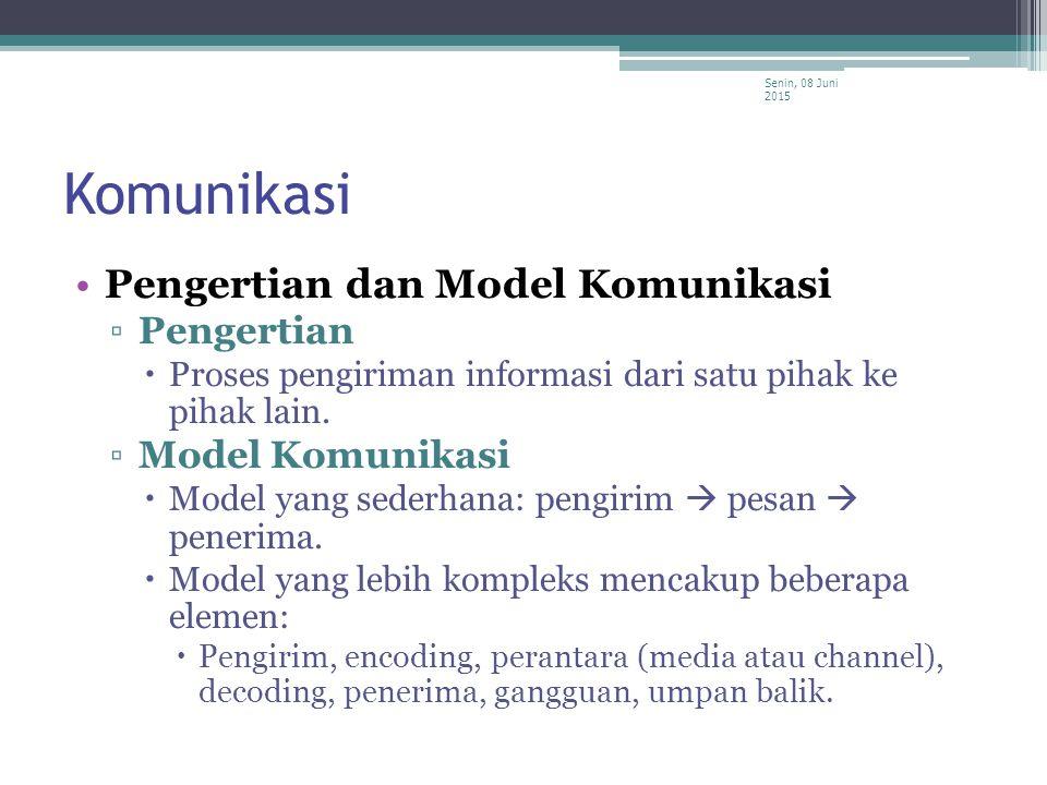 Komunikasi Pengertian dan Model Komunikasi ▫Pengertian  Proses pengiriman informasi dari satu pihak ke pihak lain. ▫Model Komunikasi  Model yang sed