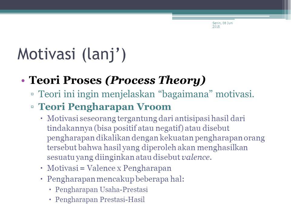 """Motivasi (lanj') Teori Proses (Process Theory) ▫Teori ini ingin menjelaskan """"bagaimana"""" motivasi. ▫Teori Pengharapan Vroom  Motivasi seseorang tergan"""