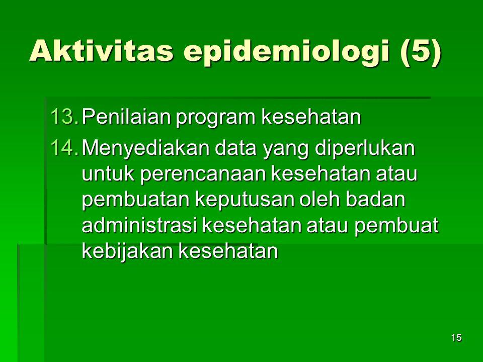 15 Aktivitas epidemiologi (5) 13.Penilaian program kesehatan 14.Menyediakan data yang diperlukan untuk perencanaan kesehatan atau pembuatan keputusan