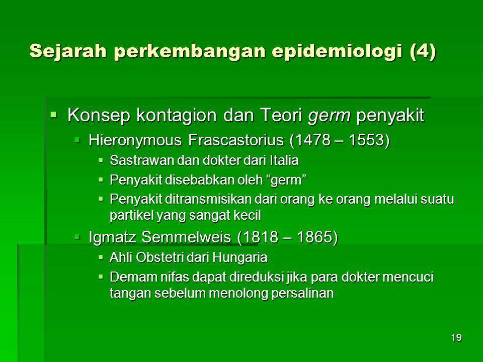 19 Sejarah perkembangan epidemiologi (4)  Konsep kontagion dan Teori germ penyakit  Hieronymous Frascastorius (1478 – 1553)  Sastrawan dan dokter d