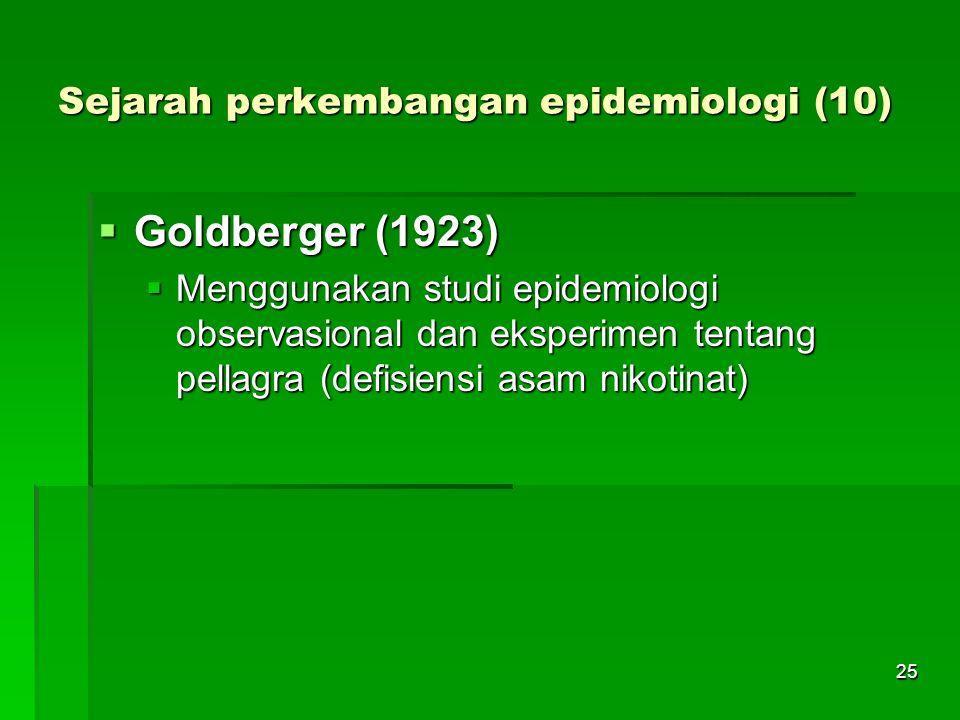 25 Sejarah perkembangan epidemiologi (10)  Goldberger (1923)  Menggunakan studi epidemiologi observasional dan eksperimen tentang pellagra (defisien
