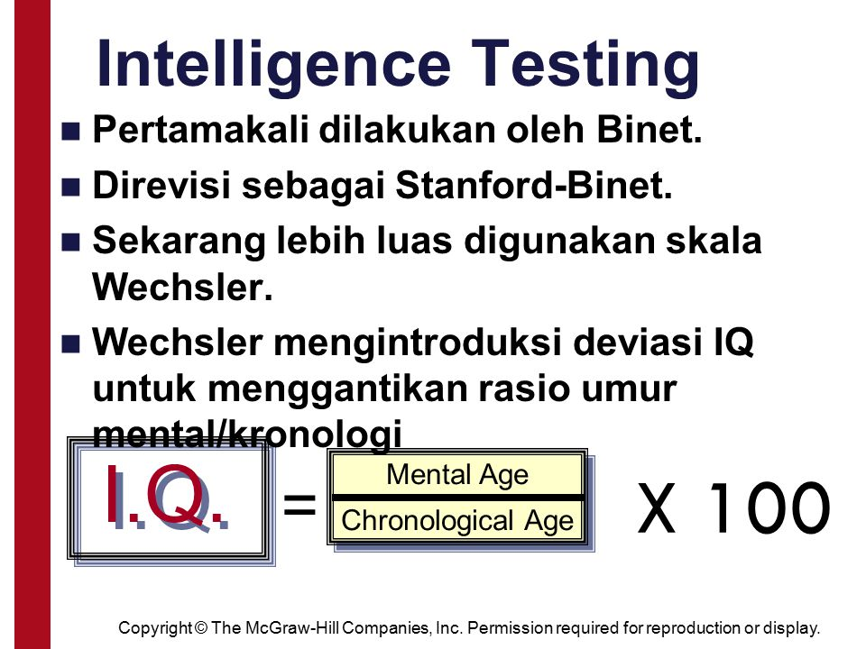 Copyright © The McGraw-Hill Companies, Inc. Permission required for reproduction or display. Intelligence Testing I.Q. = Mental Age Chronological Age