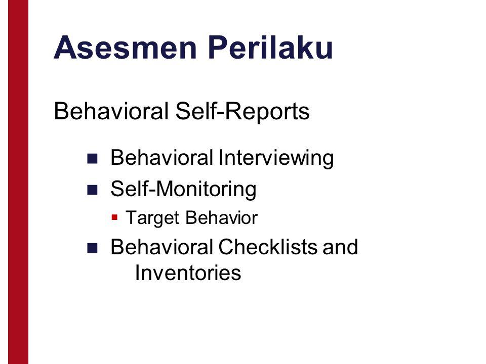 Asesmen Perilaku Behavioral Interviewing Self-Monitoring  Target Behavior Behavioral Checklists and Inventories Behavioral Self-Reports