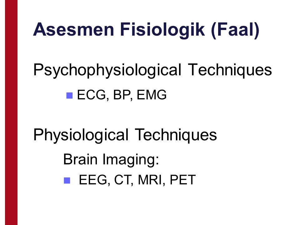Asesmen Fisiologik (Faal) Psychophysiological Techniques Physiological Techniques Brain Imaging: EEG, CT, MRI, PET ECG, BP, EMG