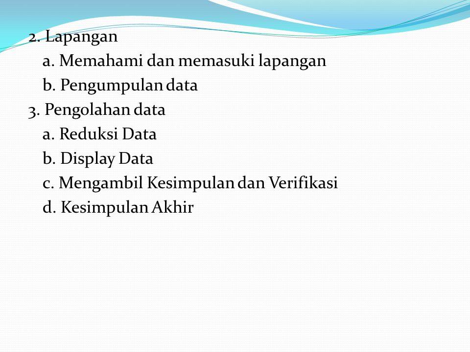 2. Lapangan a. Memahami dan memasuki lapangan b. Pengumpulan data 3. Pengolahan data a. Reduksi Data b. Display Data c. Mengambil Kesimpulan dan Verif